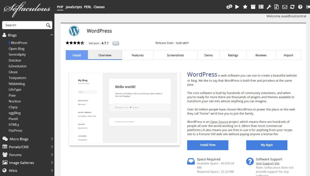 Install WordPress from softaculous