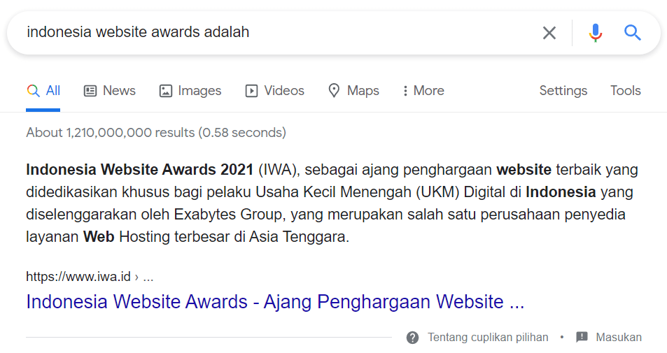 Featured Snippets Indonesia Website Awards Exabytes Indonesia